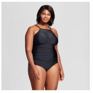 NWT Ava & Viv Black High Neck Swimsuit